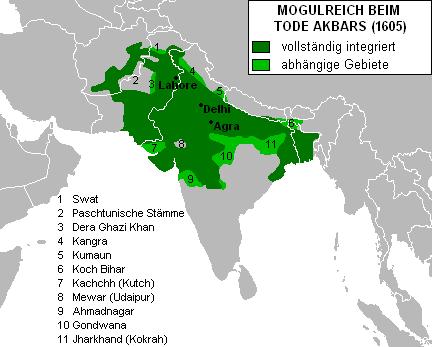 Karte des Mogulreichs unter Akbar. Von Jungpionier. Quelle: Wikimedia Commons. Unverändert übernommen nach Lizenz 3.0.