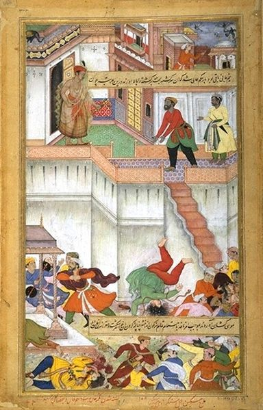 Akbar läßt Adham Khân bestrafen (Akbar-nâme).