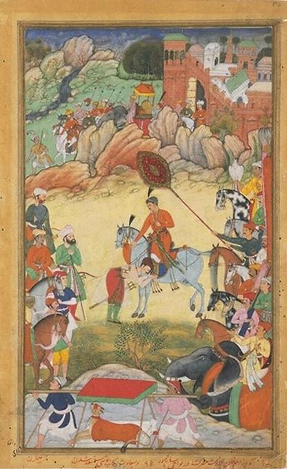 Adham Khân erweist Akbar seine Reverenz (Akbar-nâme).