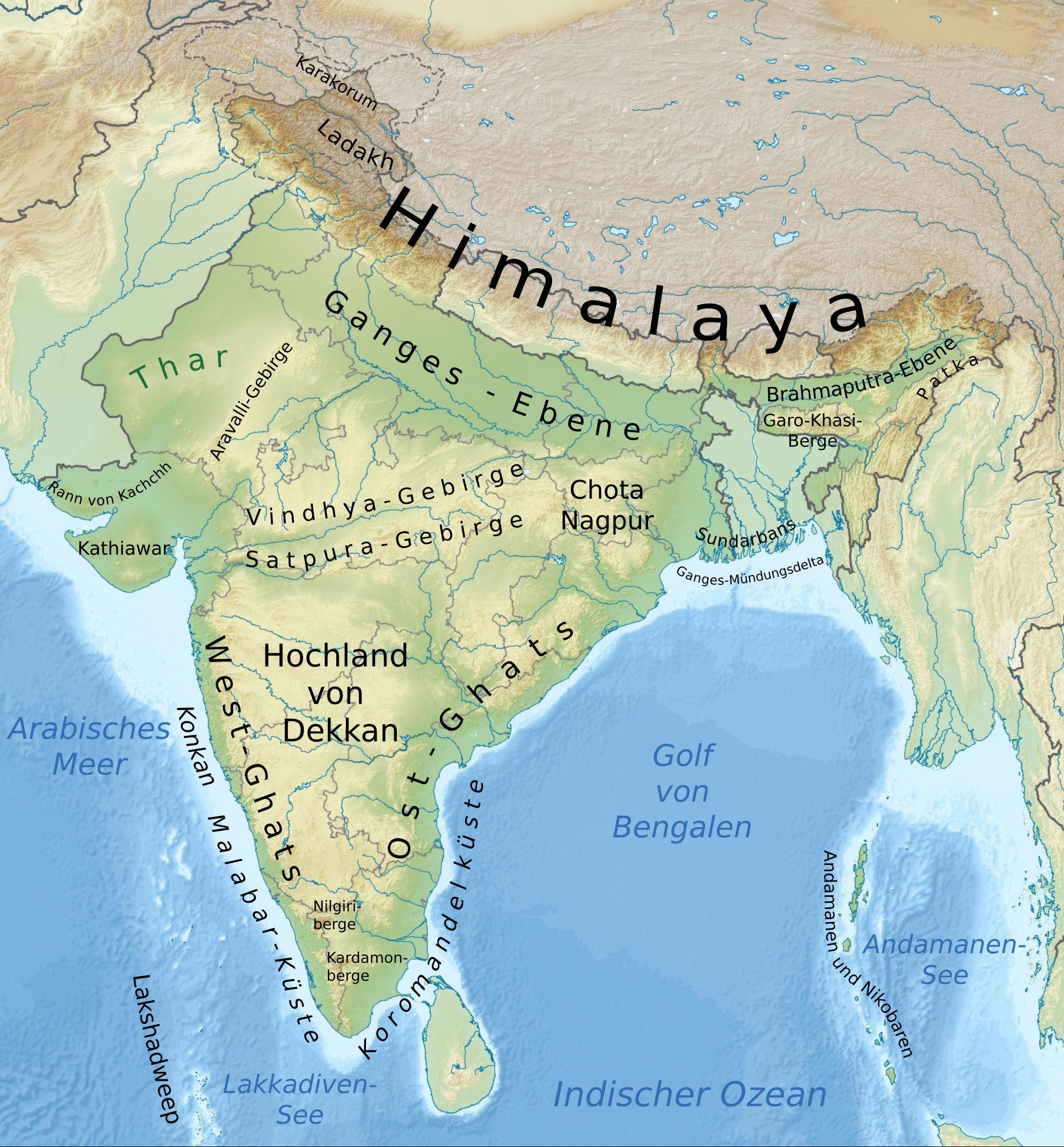 Indienkarte (CC-Lizenz 3.0, Autor: Furfur)